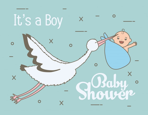 Stork flying with cute baby boy in bag