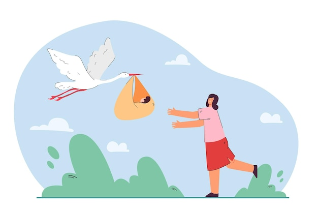 Stork giving newborn baby to mother. woman happy to be mother flat illustration