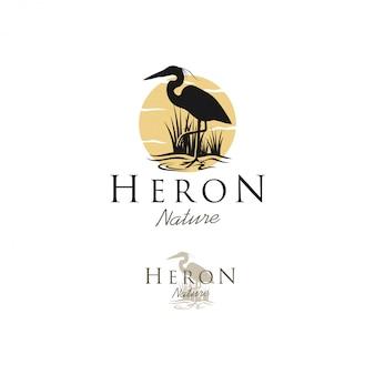 Stork heron silhouette logo, animal wildlife outdoor