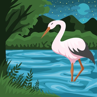 Stork and river vector illustration