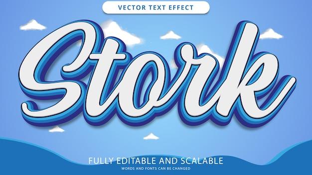 Stork text effect editable eps file