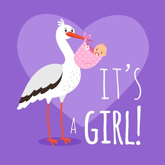 Stork with baby girl. birth announcement card template with stork carrying girl for baby shower card vector illustration
