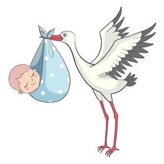 赤ちゃんの招待カードの漫画とコウノトリ。かわいいベビーシャワー妊娠発表デザインイラスト