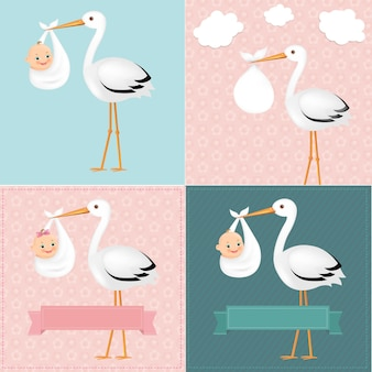 Stork with baby set with gradient mesh illustration