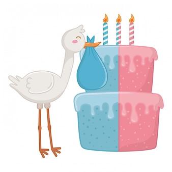 Stork with birthday cake illustration