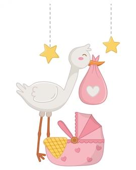 Stork with cradle illustration