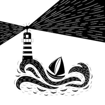 Буря на море. маяк светит на корабль во время шторма. черно-белая векторная графика