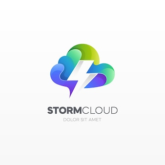 Storm cloud data technology logo template