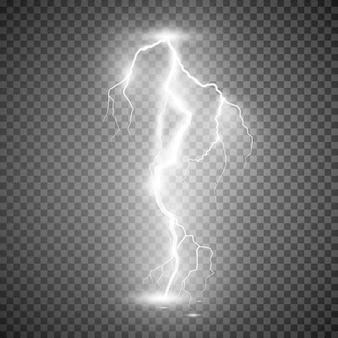 嵐の稲妻。透明な背景のイラスト