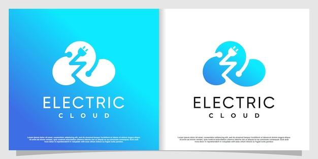 創造的な電気の概念と嵐のロゴプレミアムベクトルパート1