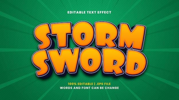 Редактируемый текстовый эффект штормового меча в современном 3d стиле