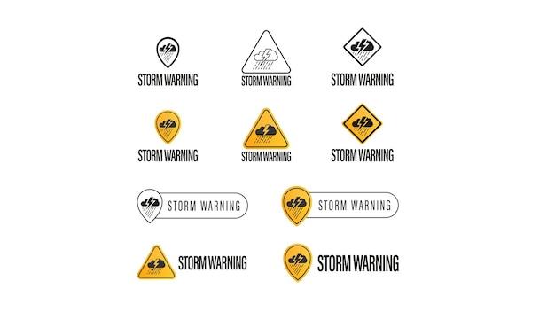 嵐の警告、白い背景で隔離の標識、記号、ロゴの大規模なコレクション。気象警報シンボルの概念