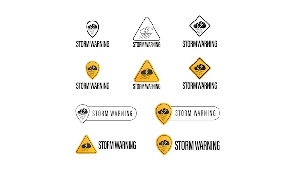 Storm warning, large collection of signs, symbols and logos isolated on white background. weather warnings symbols concepts