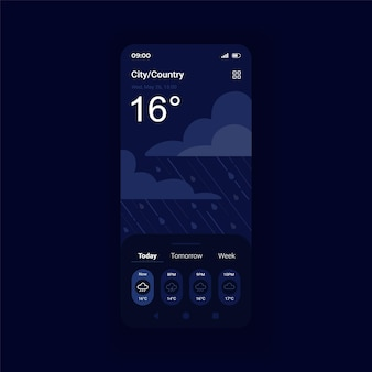 Storm weather forecast night mode smartphone interface vector template