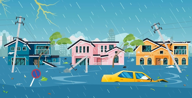 The storm wreaked havoc and flooded the city Premium Vector