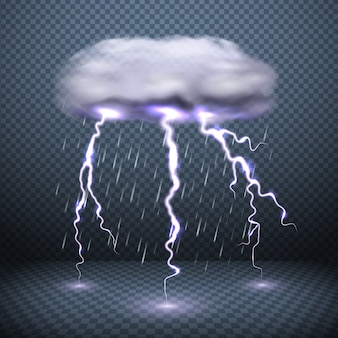 Stormy cloud lightning and falling rain realistic vector illustration