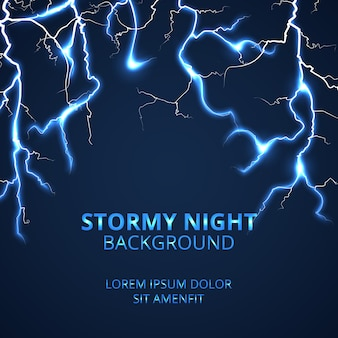 Stormy night with striking lightnings background