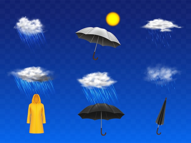 Stormy and rainy weather forecast 3d realistic icons set with sun disc, clouds with rainfall