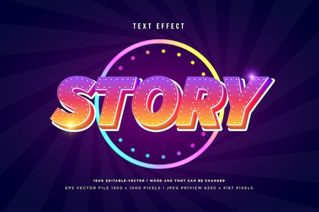 Story 3d text effect on dark purple background