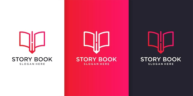 Story book logo template with cool and modern line art concept premium vector