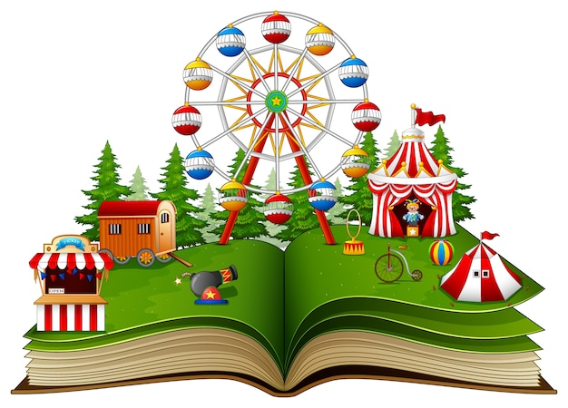 Story book with a carnival on a white background