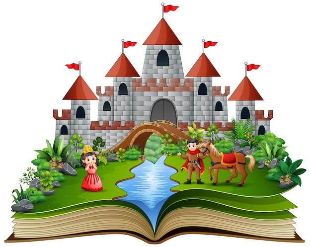 Story book with cartoon princesses