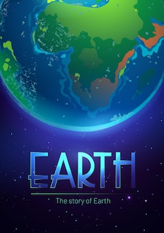 Story of the earth poster with sphere of planet in outer space with stars