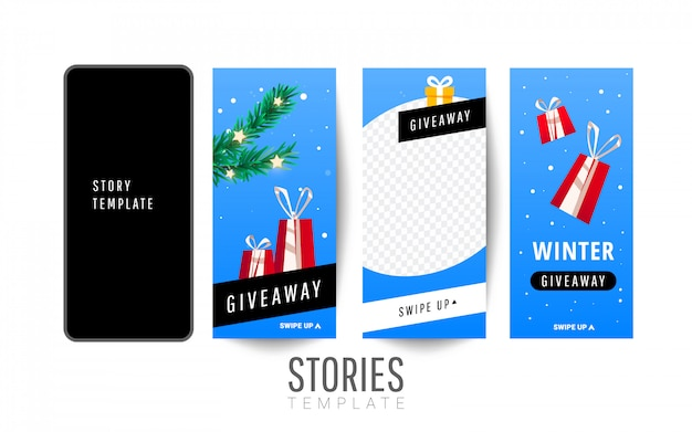 Story giveaway template with gift boxes, christmas trees for social networks stories