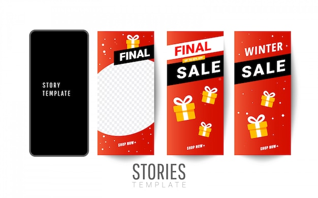 Story sale template with gift boxes, christmas trees for social networks stories