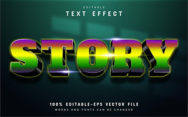 Story text, colorful gradient text effect editable Premium Vector