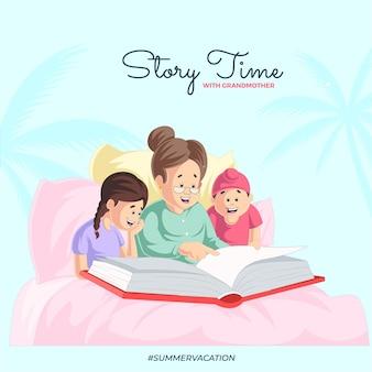 할머니 배너 디자인 템플릿과 이야기 시간