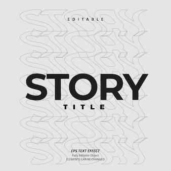 Story title wave line effect text effect editable premium premium vector