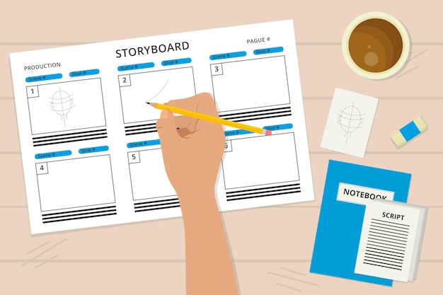 Storyboard and cup of coffee