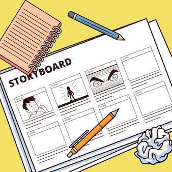 Storyboard with drawing and notebook