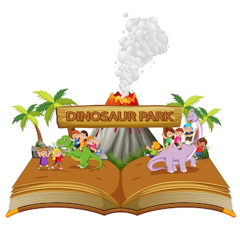 The storybook of the children playing with dinosaur on the dinosaur park