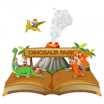 The storybook of the dinosaur park with the children and volcano