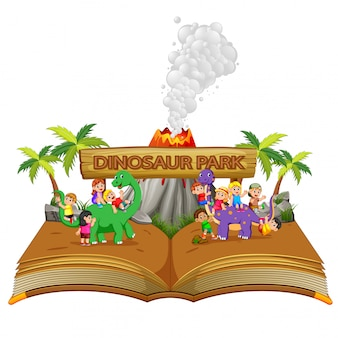 The storybook with the children playing the dinosaur and the volcano