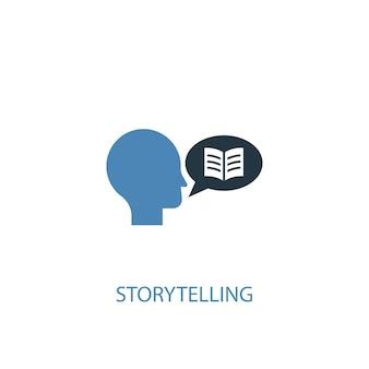 스토리 텔링 개념 2 색 아이콘입니다. 간단한 파란색 요소 그림입니다. 스토리 텔링 개념 기호 디자인입니다. 웹 및 모바일 ui/ux에 사용할 수 있습니다.