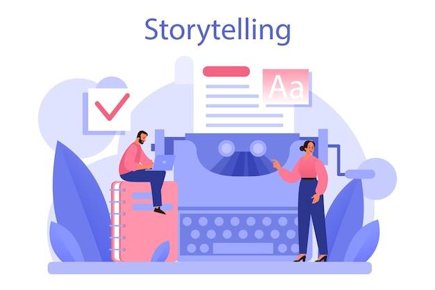 ストーリーテリングのコンセプト。プロのスピーチライターまたはジャーナリスト