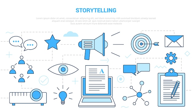 Storytelling concept with icon set template banner with modern blue color style