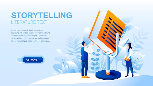 Storytelling flat landing page with header, banner  template.