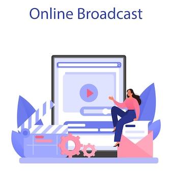 ストーリーテリングのオンラインサービスまたはプラットフォーム。オンライン放送。フラットベクトルイラスト