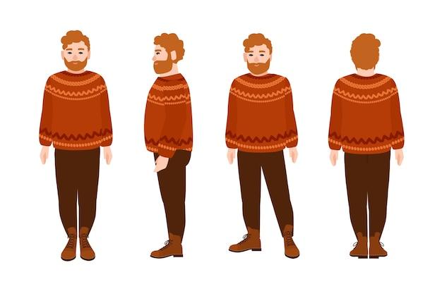 Полнобородый рыжий мужчина в шерстяном джемпере. толстый мужской мультипликационный персонаж с рыжими волосами и бородой в вязаном свитере на белом фоне. вид спереди, сбоку, сзади. иллюстрация