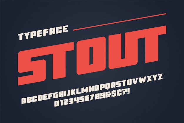 The stout heavy display font design, alphabet, typeface, letters
