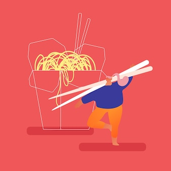 麺と一緒にテイクアウトの中華鍋に立っている中国のファーストフードのレストランで巨大な木製の箸を持って頑固な男。アジアの伝統的なファーストフード栄養、昼食。漫画フラット