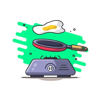 Плита, сковорода и иллюстрация яйца