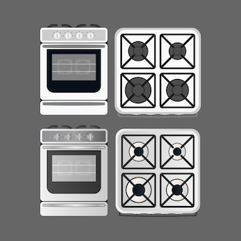 Stove in a realistic style. modern oven for the kitchen. isolated. vector. Premium Vector
