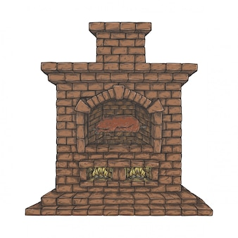 Stove in vintage hand drawn style