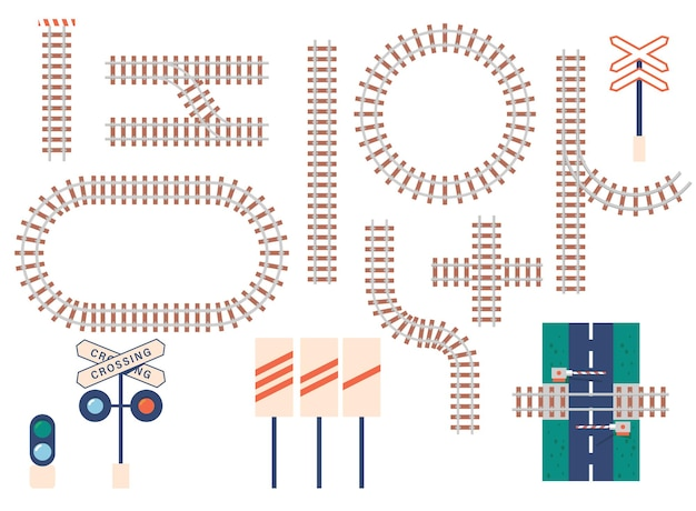 직선 및 곡선 철도 트랙, 장벽, 신호등 및 표지판 아이콘. 교통 철도 곡선, 라운드, 교차 및 직선도 라인 흰색 배경에 고립. 만화 벡터 아이콘 세트