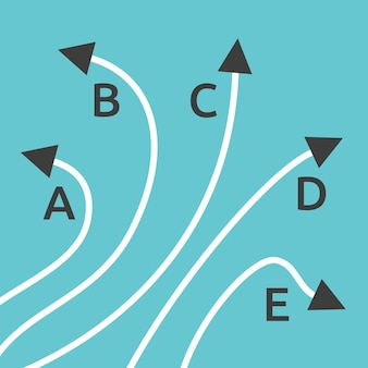 Straight and complicated paths from a to b on blue background. problem, solution and choice concept. flat design. eps 8 vector illustration, no transparency